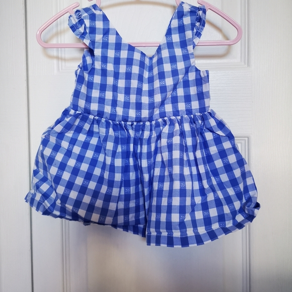 Checkered blue and white dress